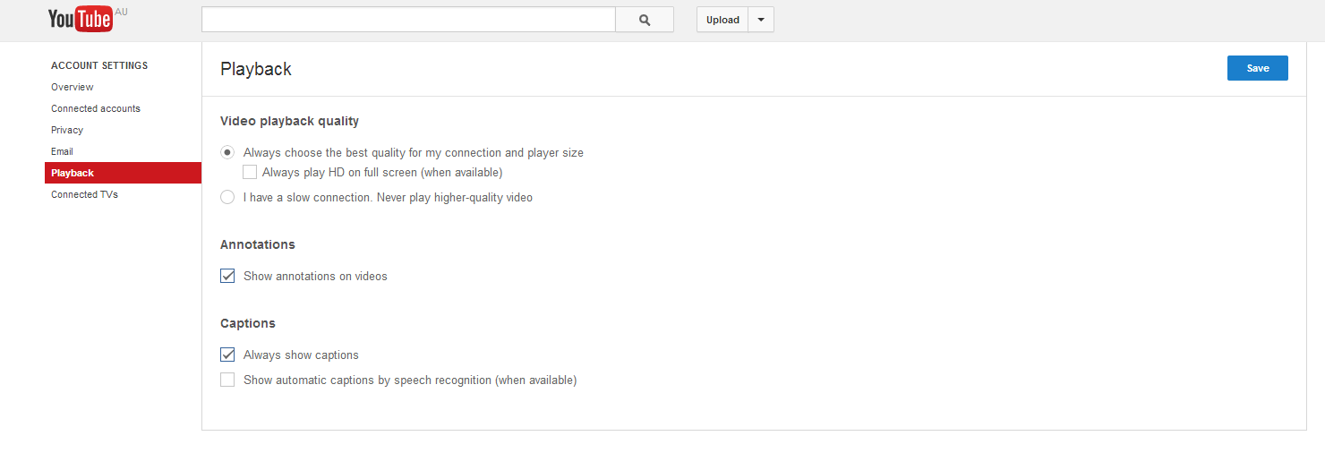 Go to YouTube and then go to the YouTube playback settings page .